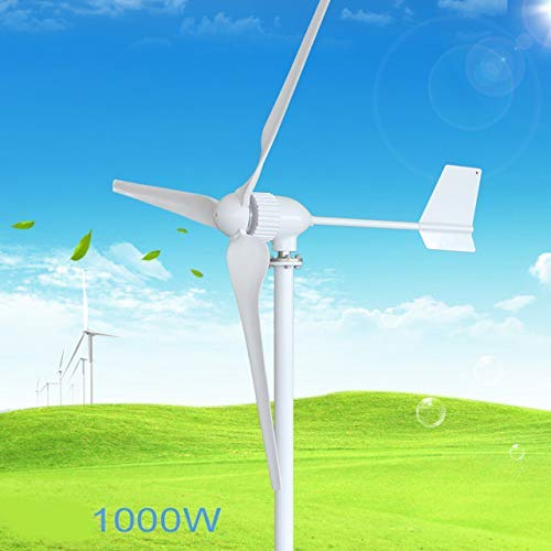 XHNXHN Generador de turbina eólica de 1000 W, CA 24 V / 48 V 3 aspas Molino de Viento de Baja Velocidad de 1150 Mm, con Controlador de Carga de Viento