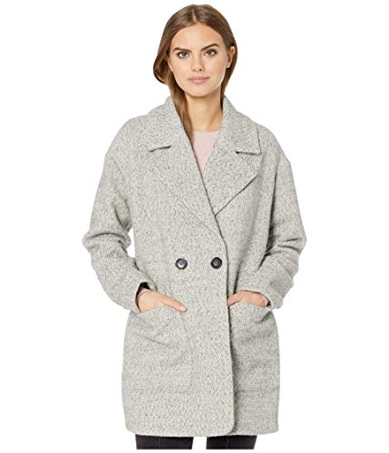 Avec Les Filles Women's Wool Cocoon Mid Length Coat in Herringbone Print, Light Grey, Extra Large