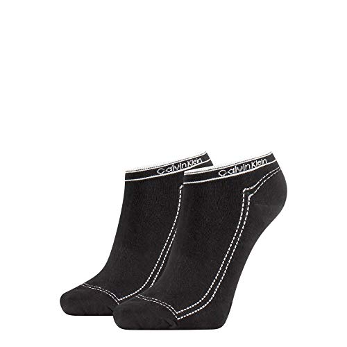 Calvin Klein Women Sneaker 2p Legwear Logo Kimmy Calcetines, Negro, Talla única Grande para Mujer