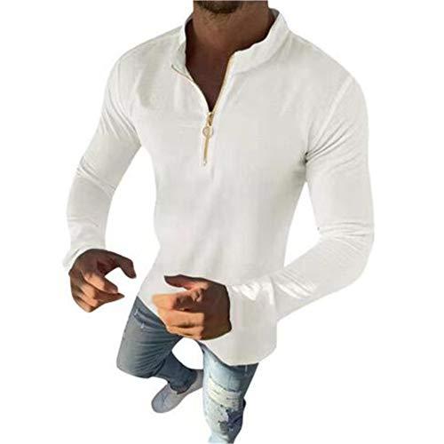OtoñO/Invierno Camiseta De Manga Larga De Color SóLido para Hombre Camisa con Cremallera Frontal De Cuello Alto