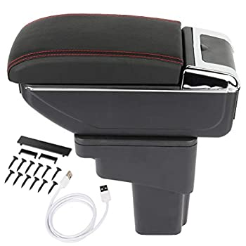 ANPART Center Console Armrest Repair Storage Box Replacement for 2010-2015 Juke Black