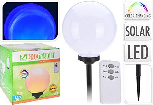 LED Leuchtkugel 25 cm - Solarkugel inkl. Fernbedienung und Erdspieß - Gartenleuchte Gartenlampe