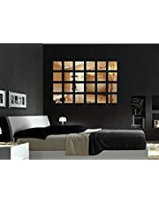 Naveed Arts - Acrylic Bronze Mirror Sticker Square. 24 Piece Set - Larger Size, JB018BRM Naveed Arts Factory Outlet