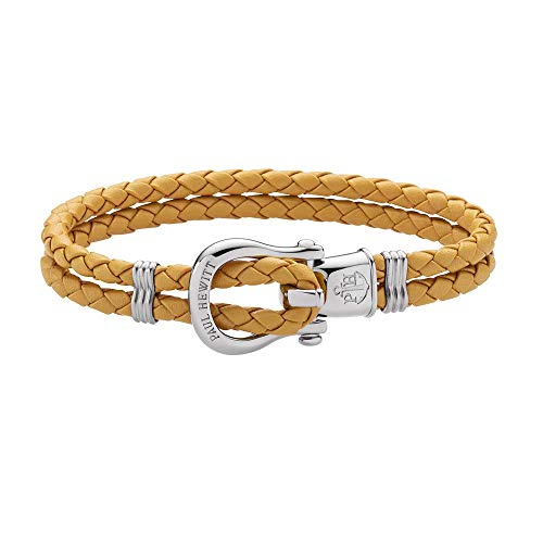PAUL HEWITT Schäkel Armband Damen PHINITY - Leder Armband Frauen (Canary), Armband Damen mit Schäkel Verschluss aus Edelstahl (Silber)