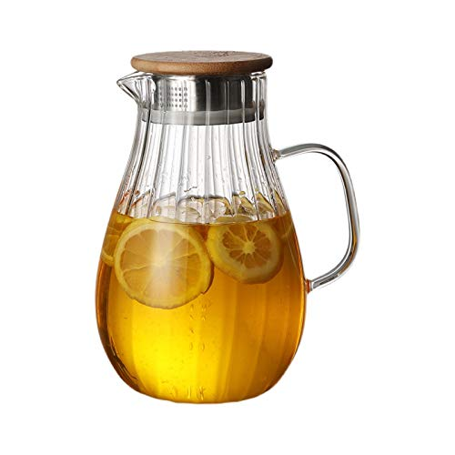 hongbanlemp iced tea pitcher Glass Pitcher Withstand High Temperature High Borosilicate Glass Water Pot Kettle for Homemade Juice and Iced Tea-1700ml Cold Teakettle