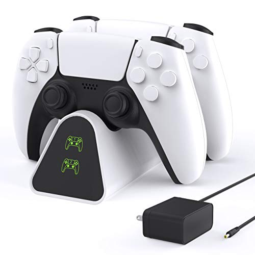 FnOoRw PS5 Controller Charger Station, Upgrade PS5 Charging Station Fasting Charging in 3 Hours with Seperate Wall Charger, Safety Chip Protection for Playstation 5 Dualsense Controller - White