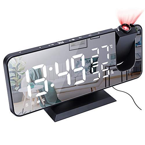 buycheapDG(JP) ラジオプロジェクションアラームクロック プロジェクション目覚まし時計 3レベルの調光 LEDデジタル時計 デュアルアラーム天井クロック LEDスクリーン 回転可能なプロジェクター 投影クロック プロジェクター時計 アラーム機能