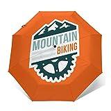 Paraguas Plegable Automático Impermeable Insignia de Bicicleta de montaña, Paraguas De Viaje Compacto a Prueba De Viento, Folding Umbrella, Dosel Reforzado, Mango Ergonómico
