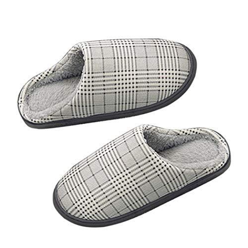litty089 Winter Katoen Niet-slip Warm Zacht Casual Vrouwelijke Mannelijke Vloerschoenen Indoor Slipper - Koffie 42-43 Grey 42-43 Grijs 42-43