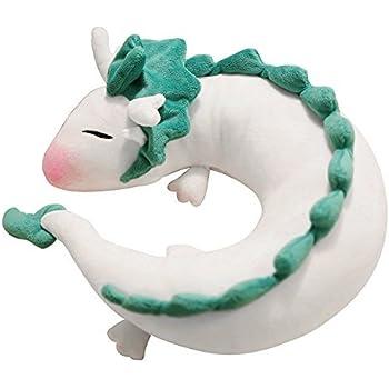 Dragon Neck Pillow Anime Cute U-Shaped Pillow - Soft Small White Dragon Cartoon Anime Neck Pillow Plush Toy Haku Dragon Stuffed Doll