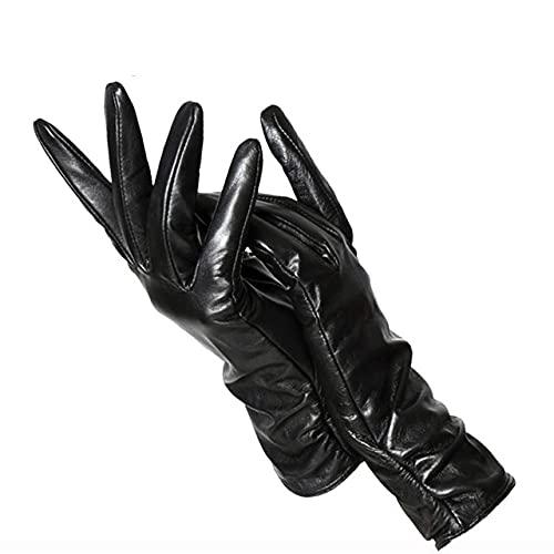 Klassische Plissierte Lederhandschuhe Frauen Farbe Lederhandschuhe Frauen Leder Winterhandschuhe Frauen-Black-5-8