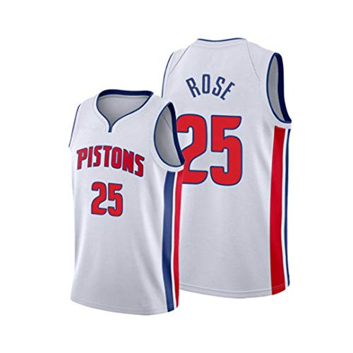 GLMAS Pistons # 25 Rose Uniforme de Baloncesto para Adultos, Camiseta All-Star Ropa Deportiva Bordado Cuello en V Baloncesto Chaleco Deportivo Jersey Deportivo (S ~ 2XL) White-M