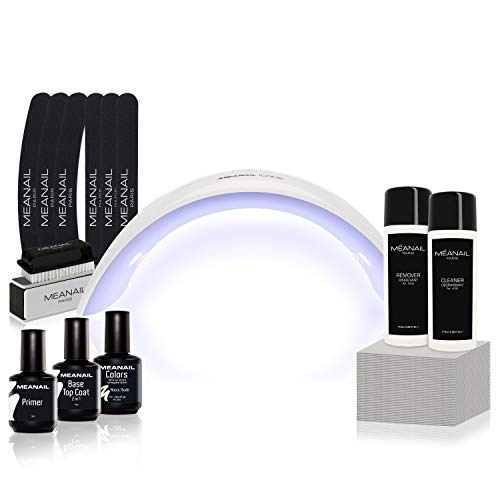 MEANAIL PARIS • Kit Semipermanente Unghie Professionale Completo • Fornetto UV LED Smalto Gel Unghie e accessori Primer Remover Base Coat Top Coat • Edition Design Basic • Vegan Cruelty Free Norme CE