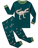 Boys Pajamas Long Sleeve 100% Cotton Dinosaur Toddler Pjs Kids Clothes Pants Set 2T Green