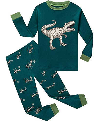 Image of Green Tyrannosaurus Rex Dinosaur Pajamas for Toddler Boys - See More Dino PJs