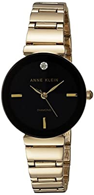 Anne Klein Women's Japanese-Quartz Watch with Alloy Strap, Gold, 13 (Model: AK/2434BKGB)