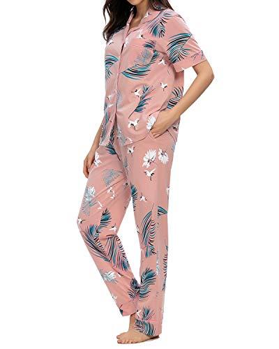 GOSO Pijama para Mujer,Pijama de Manga Larga con Botones para Mujer - Conjunto de Pijama de Manga Corto Floral para Mujer