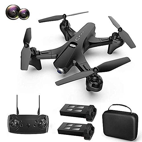 FMHCTN Drone GPS Pieghevole con Fotocamera UHD 4K per Adulti, Doppia Fotocamera, quadricottero con grandangolo da 110 °, Controllo del sensore di gravità, Compatibile con VR (Doppia Batteria)