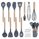 Silicone Cooking Kitchen Utensils Set -11PCS Elosis Kitchen Utensil Set with Holder,Heat Resistant Kitchen...