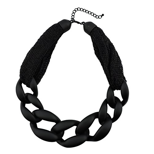 Bocar Statement Chunky Fashion Acrylic Paint Beads Choker Net Chain Necklace for Women Gifts (NK-10510-black)