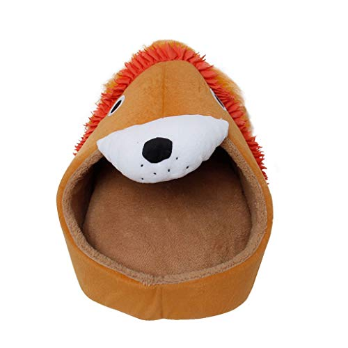 XIAOLI Pet House Pet Bed Lion Tiger Shape Dog House Cute Pet Kennel Nest Warm Dog Sofas Cat Sleeping Bed Cat Dog Bed Products (Color : Lion, Size : M)