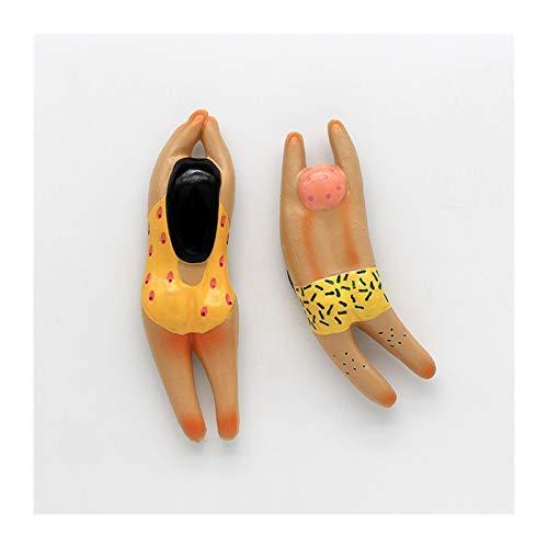 Lmanes de refrigerador 2 unids personaje de dibujos animados 3D imán de frigorífico para refrigerador pegatinas mona lisa niña nadar chica perla pendientes pegatinas decoración del hogar Imanes para p
