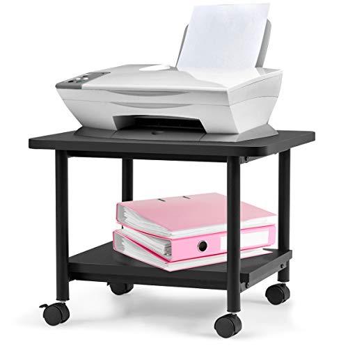 COSTWAY Druckerständer rollbar, Bürocontainer Multifunktionswagen Druckerablage, Druckertisch 2 Ebenen (schwarz)
