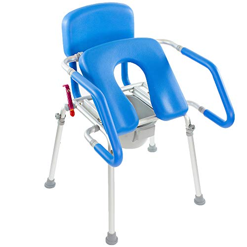 GentleBoost Uplift Assist Commode and Shower Chair with Integrated Toilet Safety Rail. Self-Powered Uplift Seat for Use As Commode, Over a Toilet or As a Shower Chair.