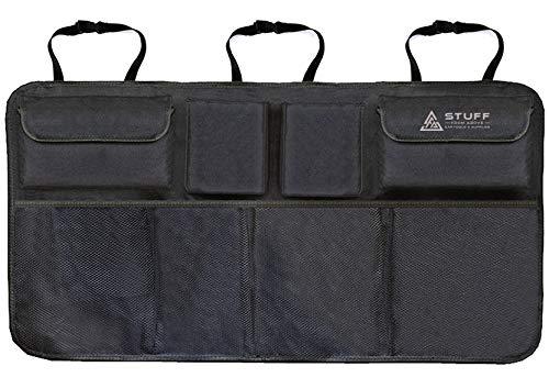 stuff from above® Organizer für Kofferraum - schwarz aus Polyester (84x46cm) mit Kletter auf Rückseite - Carorganizer - Verstauen im Auto Kofferraumtasche praktisches Ordnungssystem Aufbewahrung