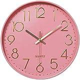Taodyans Stille Wanduhr 12 Zoll Nicht tickend Küchenuhr 30cm Quarz Batteriebetrieben Rund Modern Hängende Uhr für Büro Klassenzimmer Wohnzimmer Schlafzimmer (Rosa)