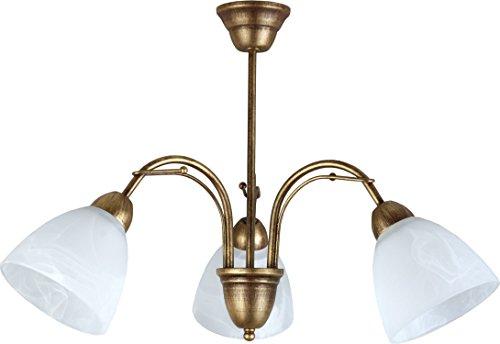 Leuchtstarke Deckenleuchte (B63cm, Jugendstil, in Braun, Weiß, weite Schirmform,...