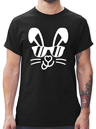 Ostern - Hase mit Sonnenbrille - weiß - M - Schwarz - Hase - L190 - Tshirt Herren und Männer T-Shirts