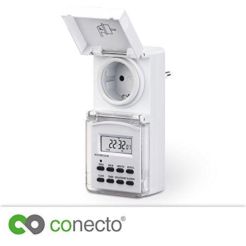 conecto Digitale Zeitschaltuhr für Steckdose | Innen-/Außenbereich (Indoor/Outdoor) | IP44 | 1,5
