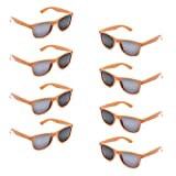 Neon Colors Party Favor Supplies Unisex Sunglasses Pack of 8 for Kids (8 Pack Orange)
