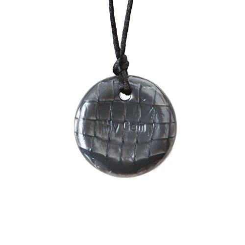Chewigem sensorische Knopf-Halskette, kaubares Spielzeug für Menschen mit Autismus und ADHS - Grau