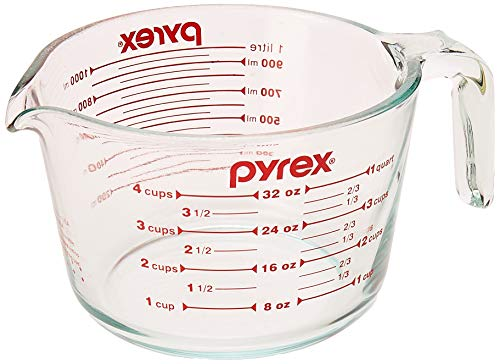 Pyrex Measuring 4 Cup (32 Oz) Glass, Clear, Red