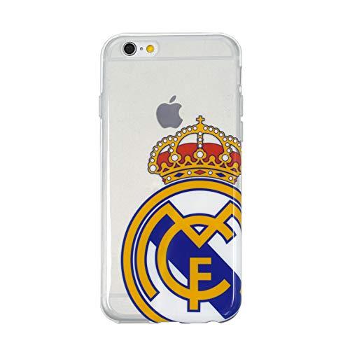 Real Madrid Funda Smartphone - Transparente con el Escudo Oficial y Compatible con Apple iPhone 6 / 6S