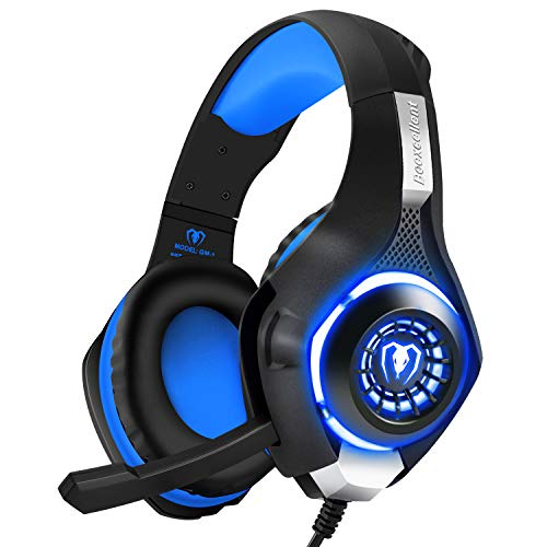 BlueFire 3.5mm Professional PS4 Gaming Headset Headphone with Mic and LED Lights for Playstation 4, Xbox one, Laptop, Computer (Blue)