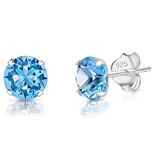 DTPSilver - 925 Sterling Silver Round Stud Earrings and Crystals from Elements - Diameter: 6 mm - Colour : Blue Aquamarine
