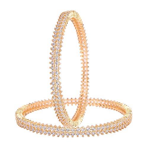 Ratnavali Jewels Juwelen CZ Zirkonia Weiß Solitär Schlankes Armband Bollywood Hochzeit Armreif Armband Schmuck Frauen (Golden White, 2.6)