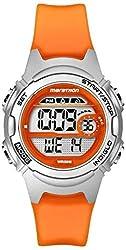 professional Marathon by TimexTW5K96800 Digital Ladies Middle Watch with Orange / Silver Plastic Strap
