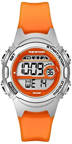 Marathon by Timex Women's TW5K96800 Digital Mid-Size Orange/Silver-Tone Resin Strap Watch