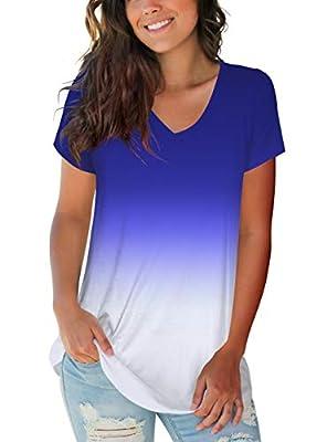 liher Womens Summer Tops Casual Short Sleeve V Neck Active Top Tie Dye Shirt Blue