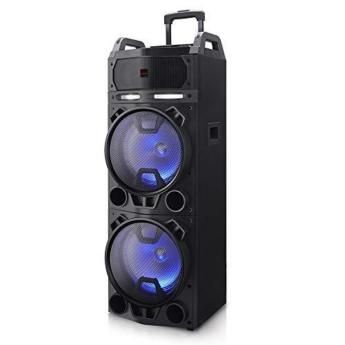 AIWA KBTUS-900, Altavoz Trolley Bluetooth con 2X Micrófono Inalámbrico Y Mando, Talla Única, Negro