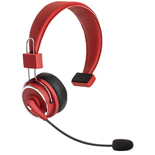 Blue Tiger Elite Fire Premium Wireless Bluetooth Headset - Professional Truckers' Noise Cancellation Head Set with Microphone - Clear Sound, Long Battery Life, No Wires - 34 Hour Talk Time - Red
