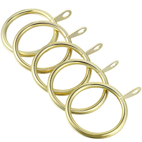 Shappy 40 Paquetes de Anillos de Cortina de Metal Anillas Colgante para Cortina y Barras, Anillos de Ojal Drapeado Deslizante 30 mm de Diámetro Interno (Oro)