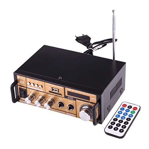 Luoshan Amplificador de Audio estéreo HiFi de 2 Canales con Control Remoto, Pantalla LED, Tarjeta USB/SD/MMC/Radio MP3 / AUX/FM, CA 220V / CC 12V (Negro)