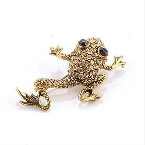 No brand grappige kikker pins broche persoonlijkheid dier strass broches voor vrouwen mannen kleding badjas badge 2,8 x 4,3 cm foto kleur