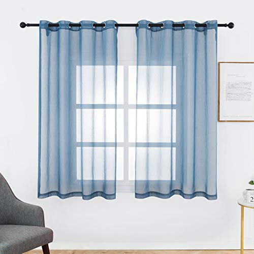 Bermino Faux Linen Sheer Curtains Voile Grommet Semi Sheer Curtains for Bedroom Living Room Set of 2 Curtain Panels 54 x 45 inch Blue