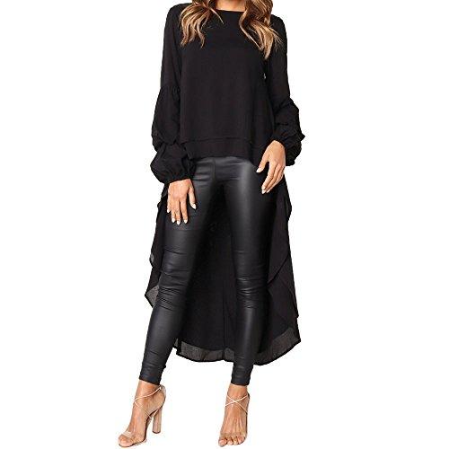 TIFIY Moda damska nieregularna falbanka koszula z rękawem z lampionem solidna bluza swetry topy bluzka 2018 moda jesień - zima kobiety topy wyprzedaż